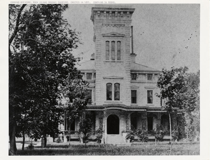 Historical black-and-white photo of Quarters One, the residence on the Rock Island Arsenal